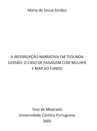 A Interrupção Narrativa em Teolinda Gersão...