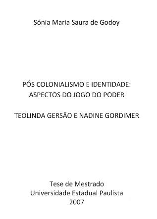 Pós-Colonialismo e Identidade: Aspectos do Jogo do Poder...