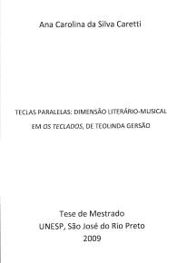 Teclas Paralelas: Dimensão Literário-Musical...